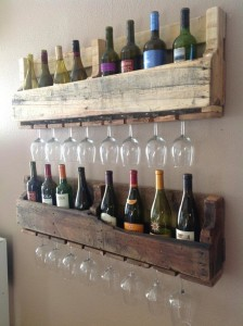 Reclaimed wooden wine and glass rack