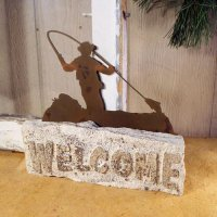 Welcome Door Stop: Fly Fisherman