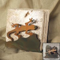 Tumbled Coaster Set: Gecko - Travertine