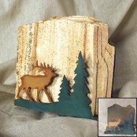 Tumbled Coaster Set: Elk - Sandstone