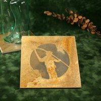 Real Stone Trivet: Fly Fisherman
