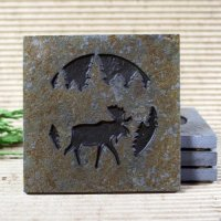 Medallion Coaster: Moose in Pine Trees