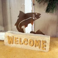 Welcome Door Stop: Trout
