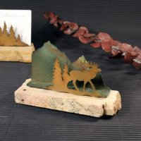 Business Card Holder: Elk in Trees
