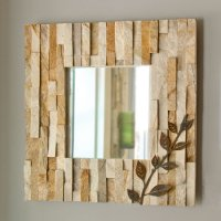 Ledge Mirror: Silver Sands w/ Leaves