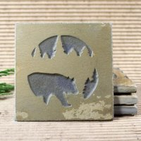 Medallion Coaster: Bear in Pine Trees