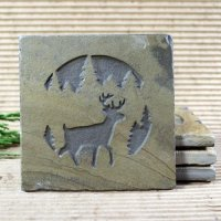 Medallion Coaster: Deer in Pine Trees