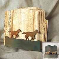Tumbled Coaster Set: Horses - Sandstone