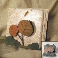Tumbled Coaster Set: Leaf 2 - Travertine