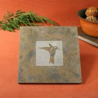 Natural Stone Trivet: Hummingbird