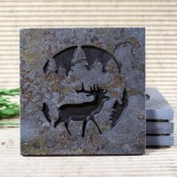 Medallion Coaster: Elk in Pine Trees