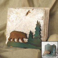 Tumbled Coaster Set: Bear - Travertine