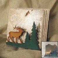 Tumbled Coaster Set: Elk - Travertine