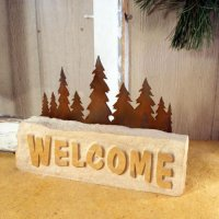 Welcome Door Stop: Trees