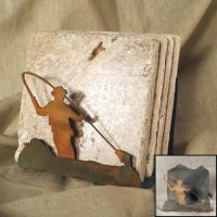 Tumbled Coaster Set: Fishing - Travertine