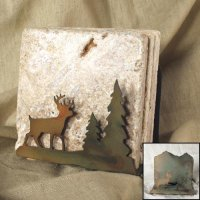 Tumbled Coaster Set: Deer - Travertine
