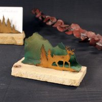 Business Card Holder: Deer in Trees