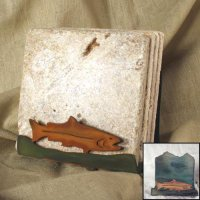 Tumbled Coaster Set: Fish - Travertine