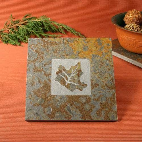 Natural Slate Stone Trivet - Classic Series -Leaf 3 Design