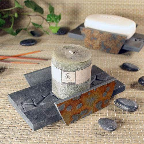 Natural Slate Stone Candle Tray | Soap Dish - Natura Baked Earth Design