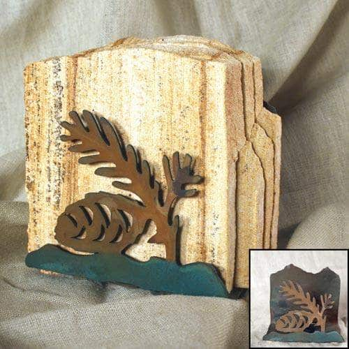 Natural Slate Stone -Tumbled Sandstone -Coaster Set with Patina Easel - Pine Cone Design